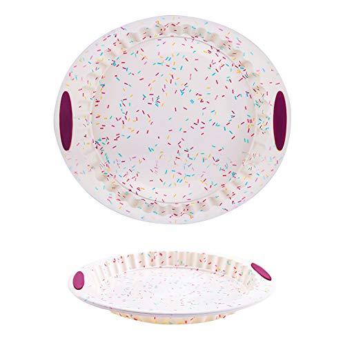 Molde redondo de silicona para tartas de pizza, ideal para hornear pasteles, pan, tartas de frutas, etc. Antiadherente, fácil de quitar y limpiar.