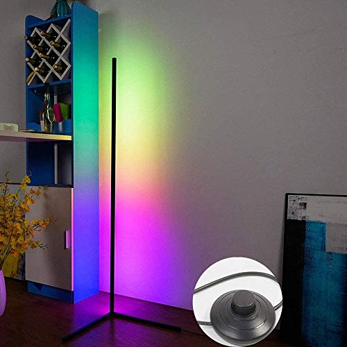 Lámpara de pie de esquina LED, lámpara de pie de pie de noche nórdica de pie, dormitorio led iluminación de vida Dimmable Dormitorio Decoración de la decoración de la luz del piso (Color : Black)