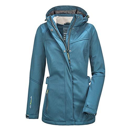 Killtec Närke Wmn - Giacca softshell da donna, con cappuccio rimovibile, Donna, Giacca softshell con cappuccio rimovibile, 35626-000, Verde blu scuro., 46