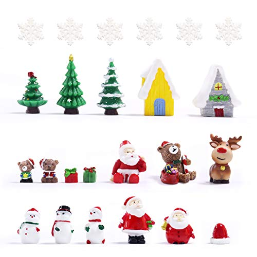 KLATIE 24 PCS Christmas Miniature Ornaments Kit,Christmas Miniatures for Crafts, Mini Christmas Ornaments for Christmas Party.