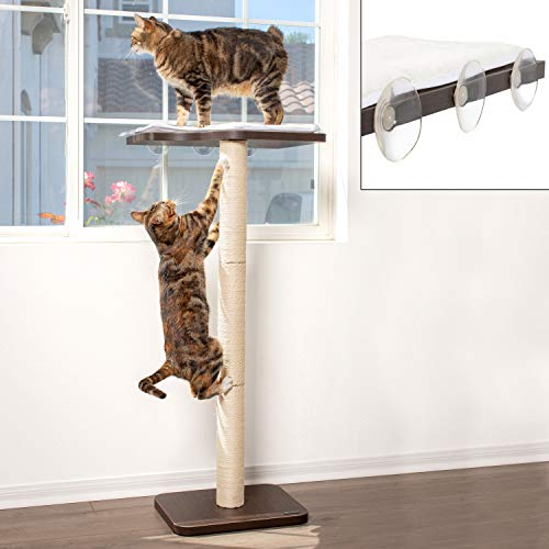 """PetFusion Ultimate Cat Window Climbing Perch 45"""" Tall (Tree Sisal Scratching Posts, Modern Design Simply Suctions to Window. (EASY TO ASSEMBLE) 1 Year Warranty for Manufacturer Defects (PF-WP1)"""