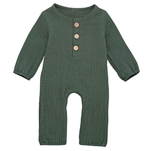 Borlai Baby Langarm Strampler Overall Neugeborenen Reine Farbe Baumwolle Leinen Body Outfits Kleidung für Unisex 0-24 Monate,Grün[3-6 Monate]