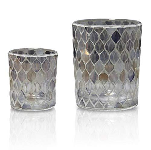 XUE-BAI 2er Set Teelichthalter, Mosaik Kerzenhalter, Glas Kerzenständer, Teelichtglas, Teelichtgläser für Tischdeko, Gastgeschenke, Hochzeitsdeko, Partydeko Kandelaber kerze/A