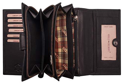 Hill Burry hochwertige Leder Geldbörse | Langes Portemonnaie aus weichem Vintage Leder | XXL Großes Portmonee | Echtes Leder - RFID (Schwarz)