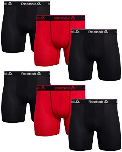 Reebok Herren-Boxershorts, 6 Stück, Schwarz / Rot, Größe XL