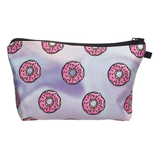 Lurrose Donut patroon make-up tas draagbare laser geweven toilettas voor dames