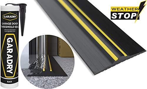 Weather Stop 20 mm (Höhe) Bodenabdichtung für Garagentore | 3,12 m | PVC schwarz/gelb | Kleber im Kit enthalten