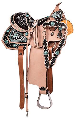 Western Riding Silla de montar para caballo de cuero de primera calidad, tamaño de 16 pulgadas, asiento disponible para conseguir a juego de cuero, cuello de pecho, riendas