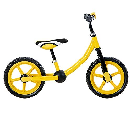 WuShu Bicicleta De Equilibrio first Bike Para Niños De 12 Pulgadas tomake Montando Fáciles Para Niños Edades 2, 3, 4,5 Años bicicleta Para Niños Deportivos y Altura De Asiento Y Manill(Color:amarillo)