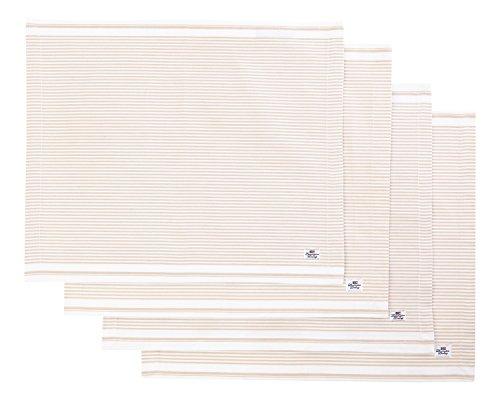 Lexington Oxford Platzset, gestreift, Beige, Baumwolle, beige, 16.25 x 20.5 x 1 cm