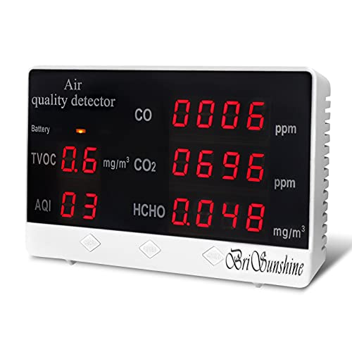 5 in 1 Multifunktional Luftqualität Monitor CO2 Messgerät Raumluft, Tragbar Kohlendioxid Tester für Innenräume