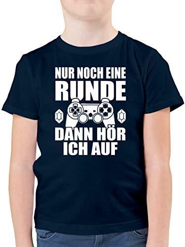 Sprüche Kind - Nur noch eine Runde - 164 (14/15 Jahre) - Dunkelblau - Hemd Jungen Kurzarm - F130K - Kinder Tshirts und T-Shirt für Jungen