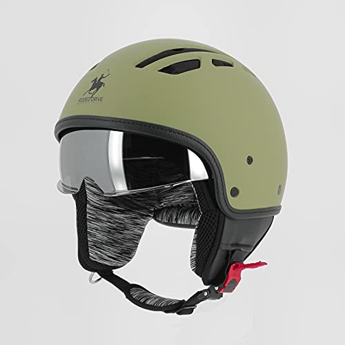 RODEO DRIVE RD114 Areato, casco omologato ultracompatto con visiera parasole, verde militare, L