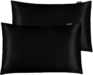 STONECREST Satin Pillowcase for Hair and Skin Care, Set of 2 Soft Breathable Queen Standard Size Silky Satin Pillowcases (...