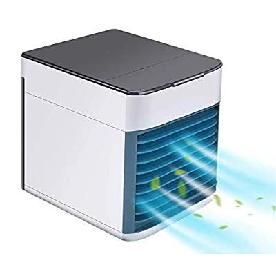 Hisome 3-in-1 Air Cooler, Portable Air Conditioner Humidifier Purifier, 3 Fan Speeds 7 Colors LED Lights USB Personal Space Desktop Air Condition