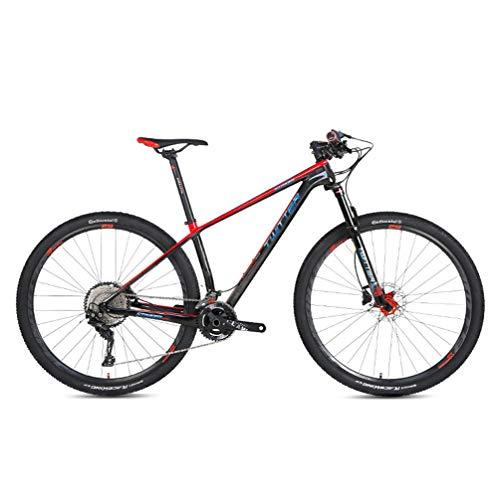 BIKERISK in Fibra di Carbonio Mountain Bike 27,5/29' 'Bici Ibrida con Front/Full Suspension, 22/33 Costi deragliatore, Sedile Regolabile (Nero, Rosso),22speed,27.5×17