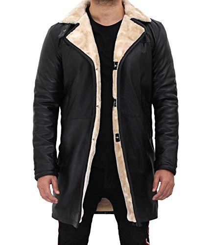 Blingsoul Swedish Men's Black Shearling Leather Bomber Jacket | [1509994] Turlock Black/Beige, L
