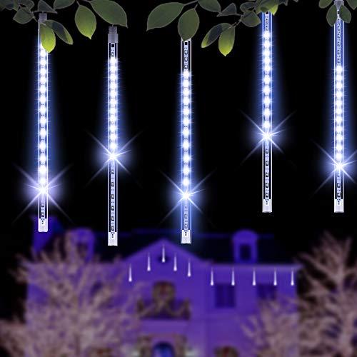 Minger 30 CM 8 tubi Bercy Doccia Pioggia Luci 144LEDs Stringa Esterna Impermeabile per Natale Matrimonio Partito Albero Decorativo, Decorazione di Alberi Lungo le Strade (Bianco)