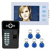 Intelligentes Bildtelefon Freisprecheinrichtung Türklingel Haussicherheitsüberwachung Zugangskontrollsystem 7 Zoll TFT Fingerabdruckerkennung