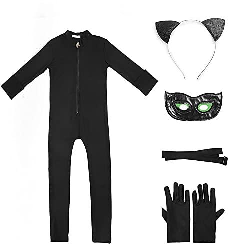 GREAHWD Garçons Chat Costume Combinaison Coccinelle Masque Manches Longues Cosplay Noir Déguisement Halloween Noël Anniversaire Carnaval Fête (L, Noir)