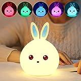 Yize - Lámpara de noche LED con sensor de contacto, 7 colores, portátil, recargable, silicona para conejo (orejas azules)