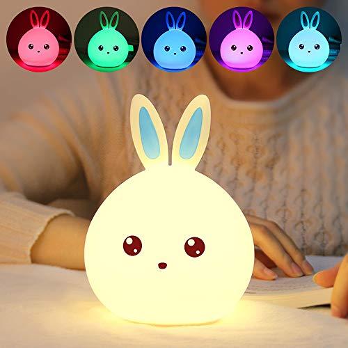 Yize LED Kaninchen Nachtlicht,Nachttischlampe mit Berührungssensor,7 Farben,Tragbar,Wiederaufladbar,Silikon Kaninchen Nachtlicht (Blaue Ohren)