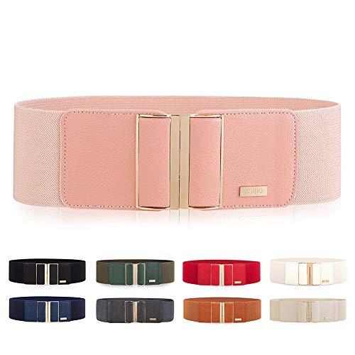 MIJIU Cinturón ancho elástico para mujer con hebilla de aleación Cinturón estiramiento (Rosa)