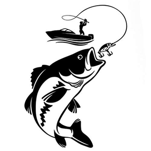 MOONRING Angeln Auto Aufkleber Fenster Auto Truck Art Sticker Aufkleber Dekor Fischer Fischerboot Big Fish Aufkleber Aufkleber, schwarz