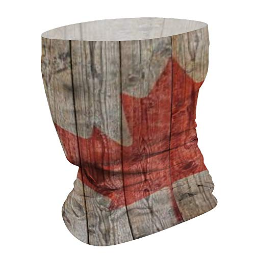 Canadian Flag Wooden Background Seamless Headband Neck Gaiter Face Scarf Tube for Outdoor UV Sun-Protection Balaclavas