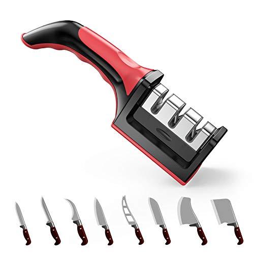 Afilador de cuchillos,Tintec afilador de cuchillos 3 en 1 manual cocina cuchillos afiladores profesional para cuchillos de todo tamaño del hogar