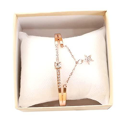 HHuin Reloj de pulsera para mujer con diseño romántico de cielo estrellado y correa de piel con brillantes