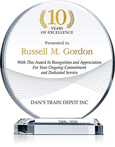 Personalized Crystal Circle Employee Years of Service Award Plaque, Customized with Employee & Company Name, Service Period, Unique Corporate Service Award for 5, 10, 15 Work Anniversary (M - 6.5')