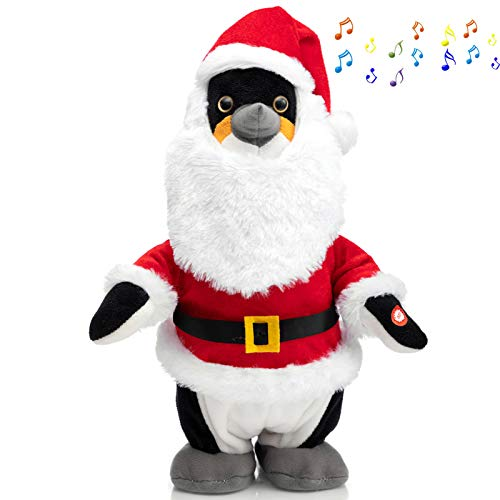 HollyHOME Animated Penguin Plush Stuffed Animal Christmas Walking and Singing Penguin in Holiday Santa Suit Funny Penguin Doll Gift for Kids 13 inch