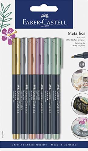 Faber-Castell Marqueur métallique Blistercard – Gamme complète de 6 couleurs