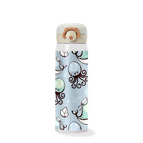 500 ml lindo pulpo azul de dibujos animados vasos al vacío de acero inoxidable aislados botella de agua de viaje deportes taza para niños/estudiantes, niños/niñas/mujeres/hombres
