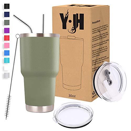 Y·J&H 30oz (850ml) Doppelwandig Vakuum Isolierter Autobecher, Edelstahl Reiseflasche, Thermobecher Kaffee to Go mit 2 Spritzfestem Deckel 2 Strohhalm, Rohrbürste,BPA Free - Olivgrün