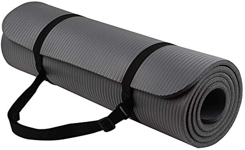 YOOMAT 1 Satz Yogamatte Extra Dicke 1 cm Pilates Fitness Kissen Rutschfeste Trainingsunterlage Hohe Dichte Balance NBR 183 cm Lange Hot Yoga Suppli