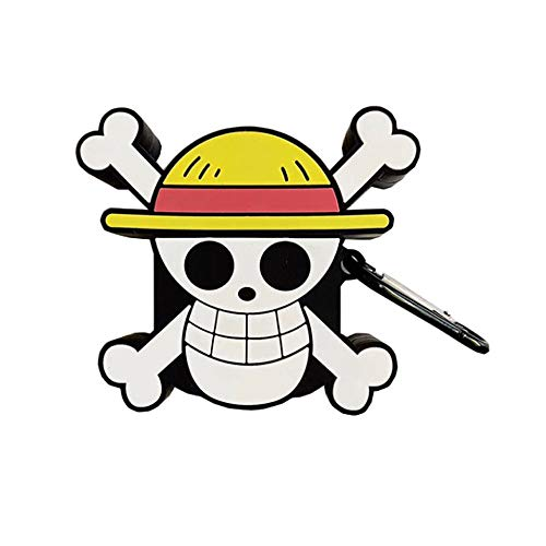 ICI-Rencontrer Super Creative Cartoon Pirate Design Airpods Case, Cool Wireless Earphone Shockproof Soft Silcone Protector AirPods Accessories with Hook