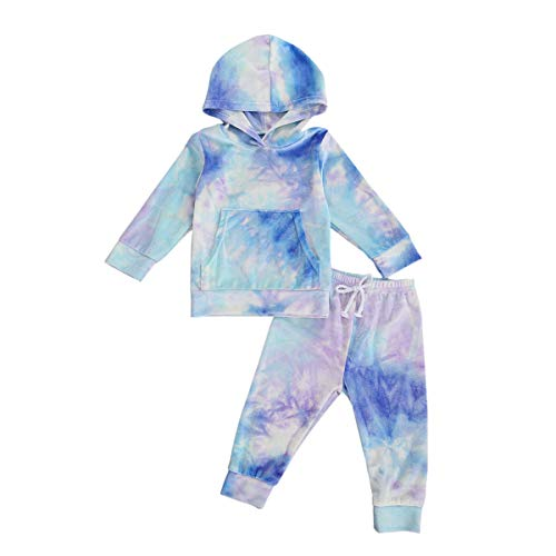 Toddler Kids Baby Girl Summer Clothes Set Tie Dye Print Long Sleeve Pocket Hoodies Top with Pants 2Pcs Tracksuit Sweatshirts (Hoodie-Blue, 4T / 5T)