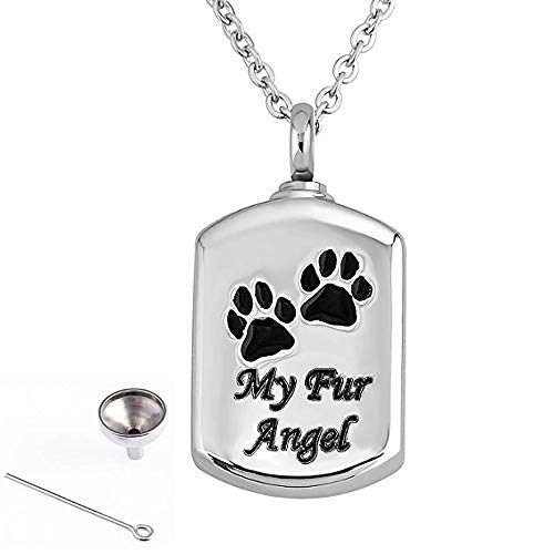 HUILI My Fur Angel Pet Paw Prints Asketting Hanger Sieraden Crematie RVS Urn Ketting Keepsake Huisdier Memorial Hanger