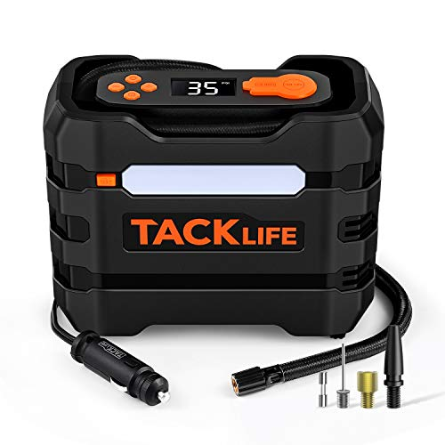 TACKLIFE A6 Tire Inflator, 12V DC Air Compressor, Portable Multifunctional Tire Pump for Car Tires, Motorcycles, Bikes And Other Inflatables, 3 LED Lights