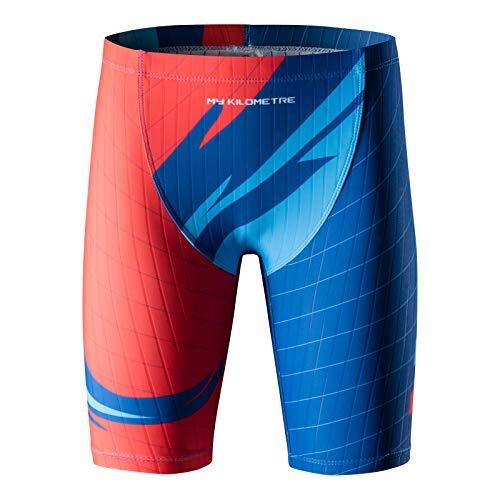 MY KILOMETRE Boys  Jammer Swimsuit with Drawstring Training Swimwear for Kids Endurance Boys Youth Swim Shorts Kids Swimsuit Red