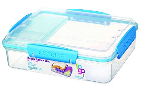 Sistema 3-Fach Geteilte Brotbox 975 ml Lunchbox 19,7 x 15,8 x 6 cm (LxBxH) Vesperbox (Tranparent/blau)