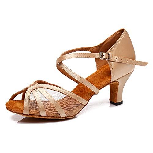 SWDZM Mujer Zapatos de Baile,estándar de Zapatos de Baile Latino,Ballroom Modelo, 2.36'' tacón, Beige 37EU/4UK/23.5CM