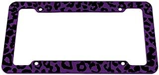 Motorup America Auto License Plate Frame Cover - Fits Select Vehicles Car Truck Van SUV - Wild Purple Leopard Print