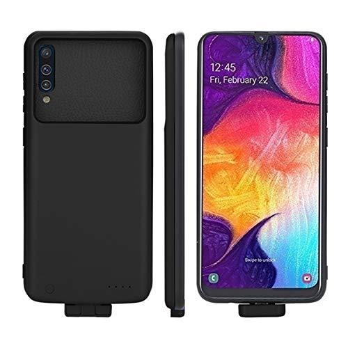 Compatible con Samsung Galaxy A50 Funda Batería, 7000mAh Externo Recargable Cargador de Batería Banco de Energía Portátil Extendido Backup Extra Pack Power Cubierta Protectora para Samsung A50 Negro