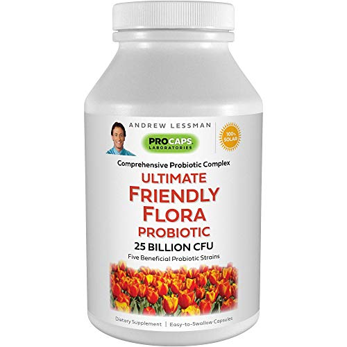 Andrew Lessman Ultimate Friendly Flora Probiotic 60 Capsules - 25 Billion CFU, Comprehensive Blend of Five Probiotic Strains, Powerful Immune and Digestive Support. Probiotics for Women or Men