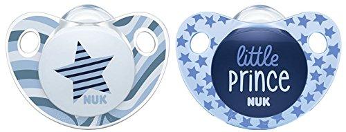 Chupete de silicona NUK Trendline, con forma ortodóntica para la mandíbula, libre de BPA, 2 unidades beige/blau Talla:18-36 meses