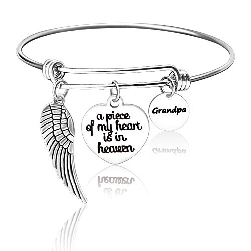 Free space A Piece of My Heart is in Heaven Dad Memories Expandable Bangle Bracelet in Memory of Dad Grandpa Remembrance Sympathy Gift (Dad)