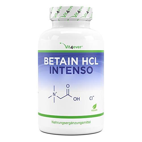 Betaína HCL - 240 cápsulas con 695 mg - Premium: Con pepsina y genciana amarga - Enzimas digestivas de amplio espectro - Alta dosis - Vegano ✅